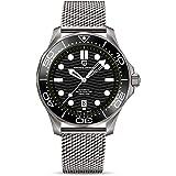 Pagani Design - 007 Seamaster - Reloj de Buceo automático para Hombre, Correa de Acero Inoxidable, Bisel de cerámica, Espejo
