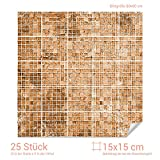 Graz Design 768067_15x15_80 Fliesenaufkleber Mosaik - Muster Braun | mit Fliesenbildern die Fliesen-Wände überkleben (Fliesenmaß: 15x15cm (BxH)//Bild: 80x80cm (BxH))