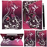 """10inch Tablet Case Cover - Universal Leather Stand Case Folio Cover Magic Leather 360° Rotating Case Fits to ALL 10"""" & 10.1"""" Inch Tablets + Stylus Pen (BUTTERFLY PURPLE)"""
