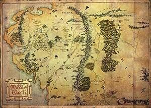 Posters: Le Hobbit Posters XXL - Carte De La Terre Du Milieu (136 x 96 cm)