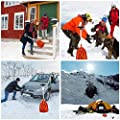Clevoers Tragbare Schneeschaufel aus Aluminium, leichte Universalschaufel und zusammenklappbare Winterschaufel für Auto, Camping, Garten