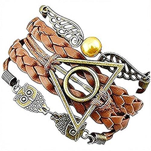 Brown - Bronce pulsera de amistad Harry Potter Símbolo del triángulo y del círculo del búho y la idea Ali regalo Mujer Hombre