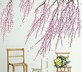 OneMtoss wandsticker Vinyl Wandtattoo Schlafzimmer Kirschblüten Rosa Blumen Wandaufkleber Wohnzimmer Kinderzimmer Badezimmer (7495)