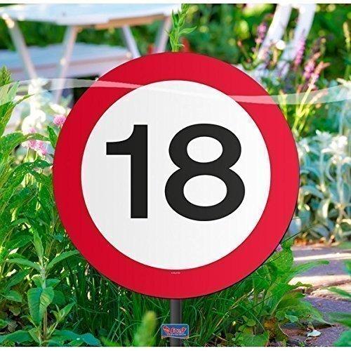 Gartenschild für Geburtstagsparty, Verkehrsschild, 18. Geburtstag (Lollipop Dekorationen Geburtstag)