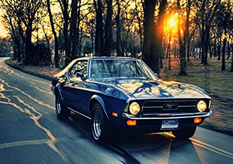 Poster Ford Mustang Blue car Vintage Sunset Wall