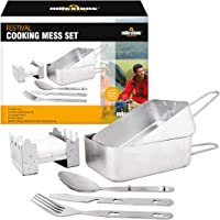 Milestone Camping Men's Camping 66000 Festival Cooking Set Aluminium, Stainless Steel ~ Mess tins, Cutlery, Stove…
