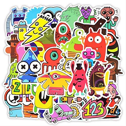 BEAISILE Aufkleber 50 STK Doodle Aufkleber Lustige Kleine Monster Roboter Aufkleber Aufkleber Für Kinder DIY Laptop Kühlschrank Skateboard Auto