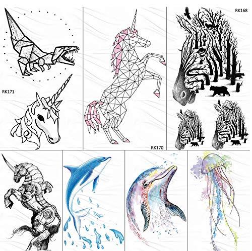 yyyDL Geometrische Einhorn Tattoo Temporäre Dinosaurier Delfin Tatoos Papier Für Kinder Wasserdicht Flash Aquarell Zebra Tattoo Aufkleber 10 * 6 cm 7 stücke
