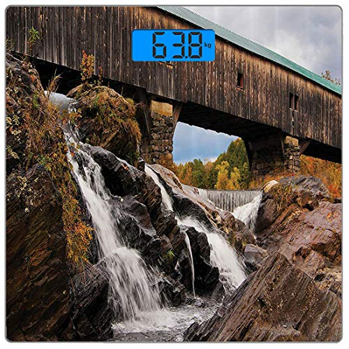 Cascading Rock (Präzisions-Digital-Personenwaage Apartment-Set Ultradünne Personenwaage aus gehärtetem Glas Genaue Gewichtsmessungen, alte, rustikale, mit Eichen gedeckte Brücke über Cascading Waterfalls Rock Fall Se)