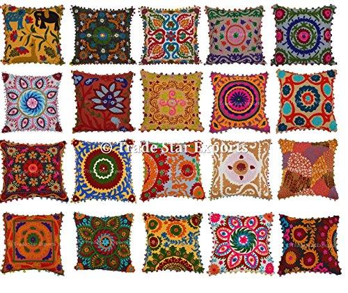 Lot de 20 Suzani Housse de coussin, couvre-lit brodé Taie d'oreiller, 16 x 16 décoratif couvertures d'oreiller, coussins d'extérieur de bohème