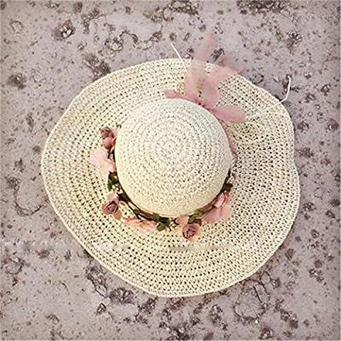 LQABW Big Sunny Hat Sonnenhut Weibliche Sommer Gesponnene Blumen-Bogen-Strohhut Sonnenschutz Strand-Hut,White