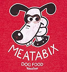 TruffleShuffle Wallace and Gromit Meatabix Dog Food Heather Red Sweater from TruffleShuffle