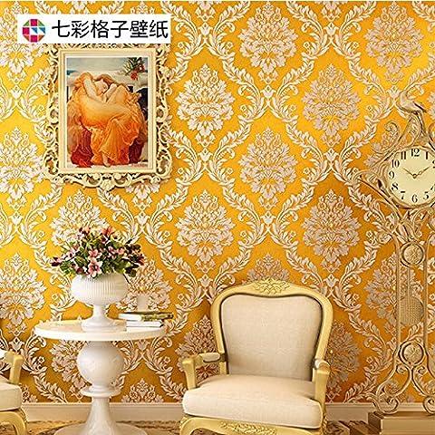 BIZHI Classical 3D Anaglyph Wallpaper Art Deco European style Wall Covering Non-woven Paper Wall Art,Golden