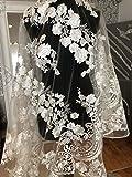 mfpx1813D Lace Floral Brautschmuck/Hochzeit Kleid Pailletten bestickt Blume Stoff scallop Trim Aufnäher, silber, 1 Yard