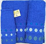 (azul marino BOLAS) REGALITOSTV Juego de toallas de baño 3 piezas (1 toalla de baño, 1 toallas de manos y 1 toalla cara) 100% algodón, varios colores, toallas ligeras y absorbentes. (Azul marino)