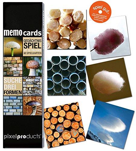Memo-Gedchtnisspiel-SUCHE-DREI-FORMEN-von-pixelproducts-Schon-mal-eine-Spirelli-Nudel-aus-der-Nhe-angeguckt