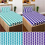 Story@Home Elegant Cotton 120 TC Combo Of 2 Single Bedsheet And 2 Pillow Cover - Aqua And Purple