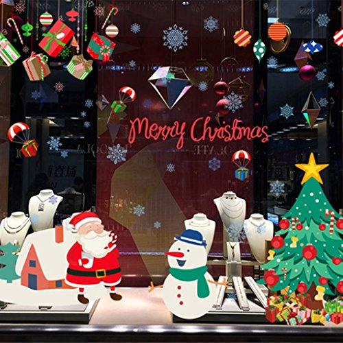 LQZ Fensterbild Fenstertattoo Festersticker Fensteraufkleber Fensterdeko Schaufenster Bilder Sticker Weihnachten Bunt für Kinder