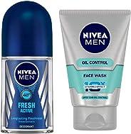 NIVEA MEN Deodorant Roll-on, Fresh Active Original, 50ml & MEN Face Wash, Oil Control With Vitamin C, 100ml Combo