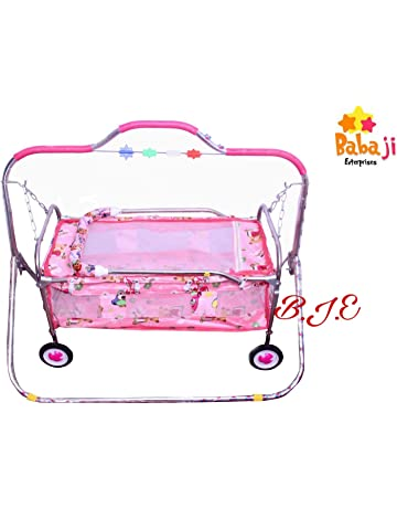 baba ji enterprises Cradle/Jhula Swing with Mosquito Net for Baby's (Pink)