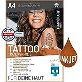 SKULLPAPER Tattoo-Transferfolie FÜR DIE HAUT - zum aufkleben und selbst gestalten - für Inkjet Tintenstrahldrucker (A4-4 Blatt)