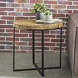 FineBuy Design Beistelltisch BALLARI Oval 60 x 61 x 53 cm Massivholz Tisch mit Metallgestell | Industrie Couchtisch Modern Holztisch mit Metallbeinen | Loft Wohnzimmertisch Anstelltisch Modern