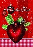 10 Klammerkarten Weihnachten Glimmer Frohes Fest Herz 22-3949