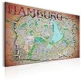 murando - Bilder 120x80 cm Vlies Leinwandbild 1 TLG Kunstdruck modern Wandbilder XXL Wanddekoration Design Wand Bild - Hamburg Stady City Karte Landkarte Deutschland k-A-0068-b-a