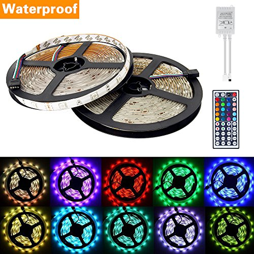 dizauL  Waterproof 10M(2x5M) 5050 SMD RGB 300 leds Led Strips Lighting Full Kit with 44 Key Remote Controller for Home and business lighting decoration.