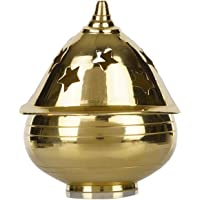 SLN Retail Brass Apple Shape Akhand Diya with Designed Star Holes on Top (6.5 cm Height)