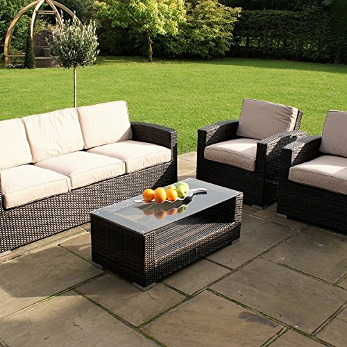 San Diego Rattan Garden Furniture Kingston 3 Seater Sofa Set Garden Rattan