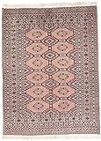 CarpetFine: Pakistan Teppich 130x182 Braun,Pink - Handgeknüpft - Geometrisch