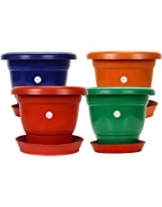 Gamla / Planter / Pot 10 - inch (set of 4 colourful pots) with round plastic plant saucer / bottom plate 6-inch  (set of 4pcs) (colour may vary) for Garden Balcony Flowering Pot by Kraft Seeds
