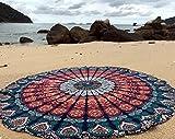raajsee Tapisseries Noires et Rondes Mandala de Style Hippie, Couvre-lit, Drap de Plage en Toile de Coton, tenture Murale, Tapis Rond de Yoga (Mandala Bleu Orange)