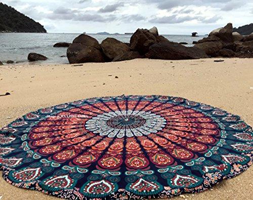 raajsee Ronda Toalla de Playa, Boho Manta Hippie Tapiz algodón Mantel Meditación Yoga Mat Alfombra por hipistry Hub (Naranja)