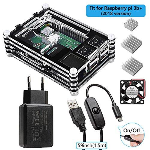 Smraza für Raspberry Pi 3 b+ Gehaeuse mit Netzteil 5V 2.5A + 1.5m USB-Kabel mit Schalter Ein/Aus + Lüfter + 3 x Kühlkörper für Raspberry Pi 3 Pi 2 Modell B case(Ohne Raspberry Pi)