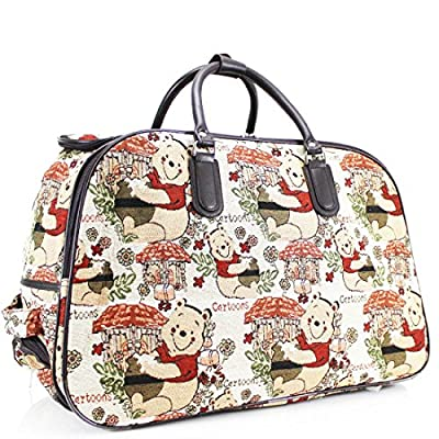Craze London Unisex Travel Holdall Bags Hand Luggage Design Print Weekend Wheeled Trolley Bag