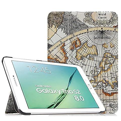Fintie Samsung Galaxy Tab S2 8.0 Hülle Case - Ultra Schlank Superleicht Ständer Smart Shell Cover Schutzhülle Tasche mit Auto Schlaf / Wach Funktion für Samsung Galaxy Tab S2 8.0 T710 / T715 / T719 (8 Zoll) Tablet-PC, Landkarte Weiß