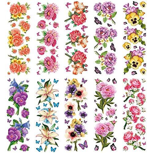 Transparent-Sticker, 10 Bogen à 10cm x 30cm | Bunte Aufkleber zum Basteln & Dekorieren (Blumen-Sträußchen)
