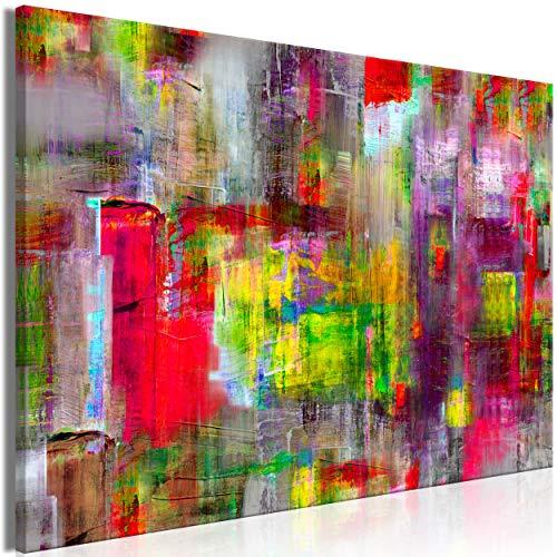 decomonkey | Mega XXXL Bilder Abstrakt | Wandbild Leinwand 160x80 cm Selbstmontage DIY Einteiliger XXL Kunstdruck zum aufhängen | wie gemalt bunt (Abstrakte Kunst Rot)