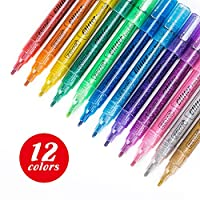 ZEYAR Glitter Paint Pens, Water-Based, Fine Point,12 Assorted Beautiful Colors, Great for Greeting and Gift Cards, Acid Free, Non-Toxic and Safe