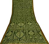 Vintage Indische Reine Seide Grün Saree Geometric Ethnic
