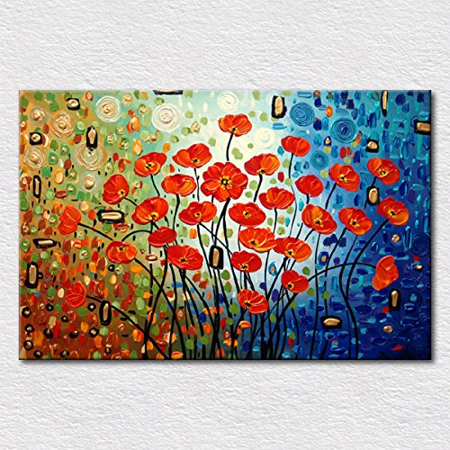 IPLST@ Pop Art Knife dipinta moderna fiori rossi ad olio su tela, dipinta a mano su tela con pollice di spessore Texture-24x36inch (Nessuna cornice, senza barella)
