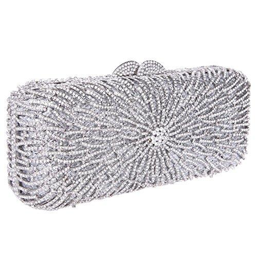Santimon Donna Pochette Borsa Bagsuette Bling Strass Borse da Festa di Nozze Sera Con Tracolla Amovibile 4 Colori argento