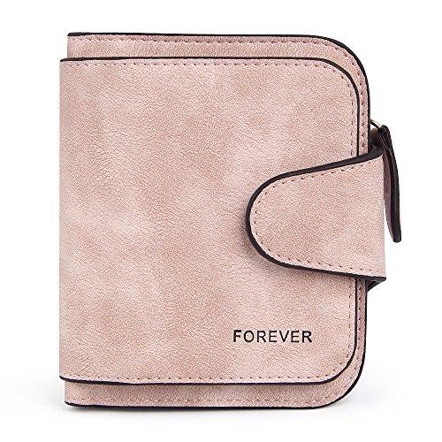 Damenbrieftasche Kleines doppeltgefaltetes Lederkartenfach Retro-Handtasche Brieftasche (Rosa) -
