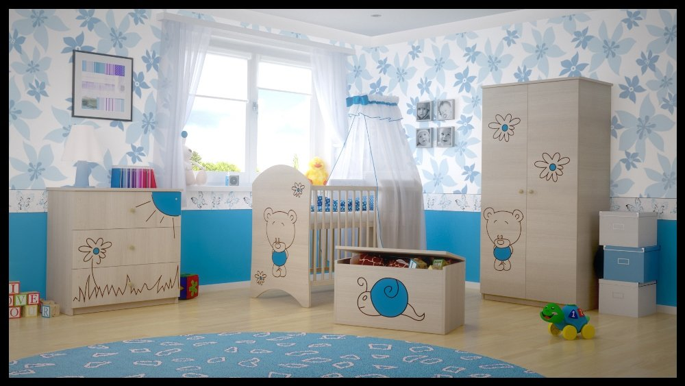 5 PCS BABY NURSERY FURNITURE SET - COT + MATTRESS + WARDROBE + CHEST OF DRAWERS + TOY BOX (model 3)  Included: cot + mattress + wardrobe + chest of drawers + toy box Material: wood GREAT QUALITY 1