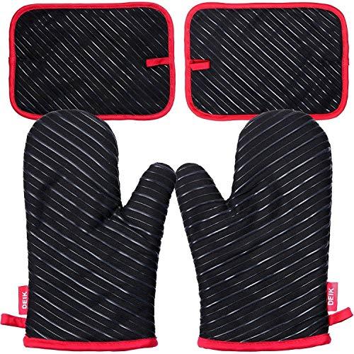 DEIK Ofenhandschuhe und Topflappen, Hitzebeständige Handschuhe bis zu 240℃, Silikon Anti-Rutsch Grillhandschuhe, Geeignet für Kochen, Backen, Grillen, Schwarz - Topflappen