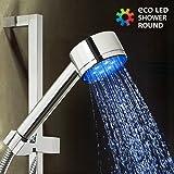 Omnidomo Eco LED Shower Ducha con Luz, Plateado, 5 x 5 x 22