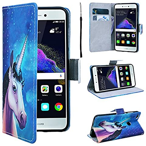 SmartLegend Huawei P8 Lite 2017 Wallet Case, P8 Lite 2017 Leather Case, Folio Flip Case Cover for Huawei P8 Lite 2017 with Strap, Stars Sky Mysterious Unicorn Book Style PU Full Body Protection with [Kickstand] Stand Function, Card Slots Holster Purse, Soft TPU Silicone Inner Back Cover SmartPhone Protective Skin Cover for Huawei P8 Lite 2017 - Blue Unicorn
