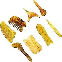 DOITOOL Gua Sha Lot de 8 outils de massage pour racler la cire d'abeille en résine naturelle